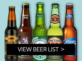 A variety of bottled beers, craft beers, and beers on tap